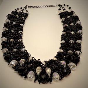 "Black ""Crochet"" Wire w/AB Glass Beads Bib Choker"
